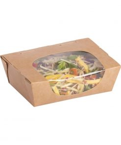 Colpac Zest Compostable Kraft Tuck-Top Salad Packs With Acetate Window 825ml / 29oz