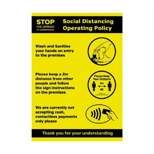 Social Distancing Operating Sanitiser Policy Self-Adhesive Poster A4 (FN647)