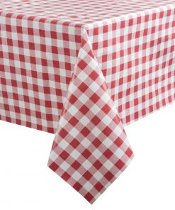 PVC Chequered Tablecloth Red 35in (E792)
