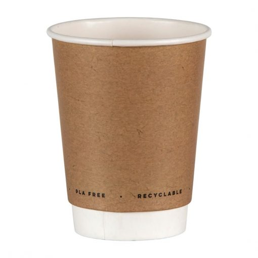 Fiesta Green Plastic-Free Compostable Hot Cups Double Wall 225ml / 8oz x 500 (FB951)