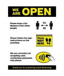 We Are Open Social Distancing Shop Guidance Self-Adhesive Poster A4 (FN659)