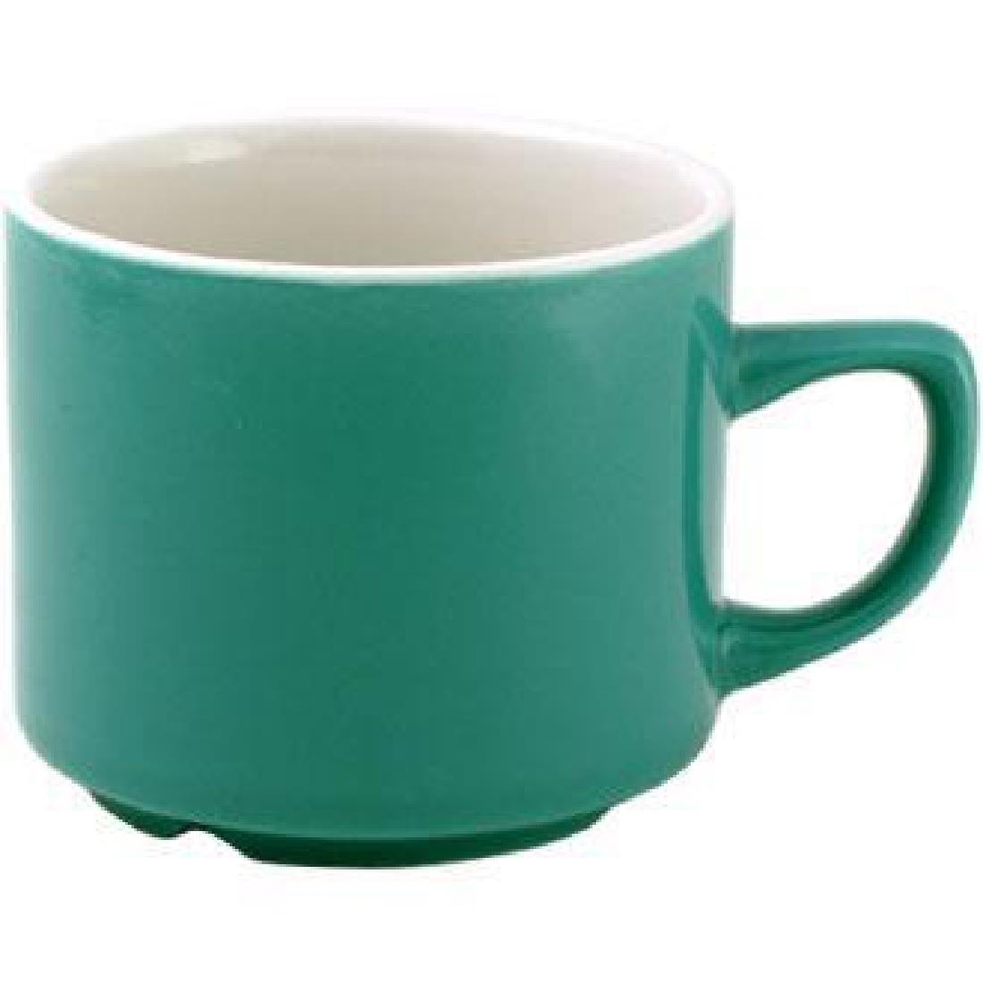 Churchill New Horizons Colour Glaze Maple Tea Cups Green 199ml (Pack of 24) (M820)