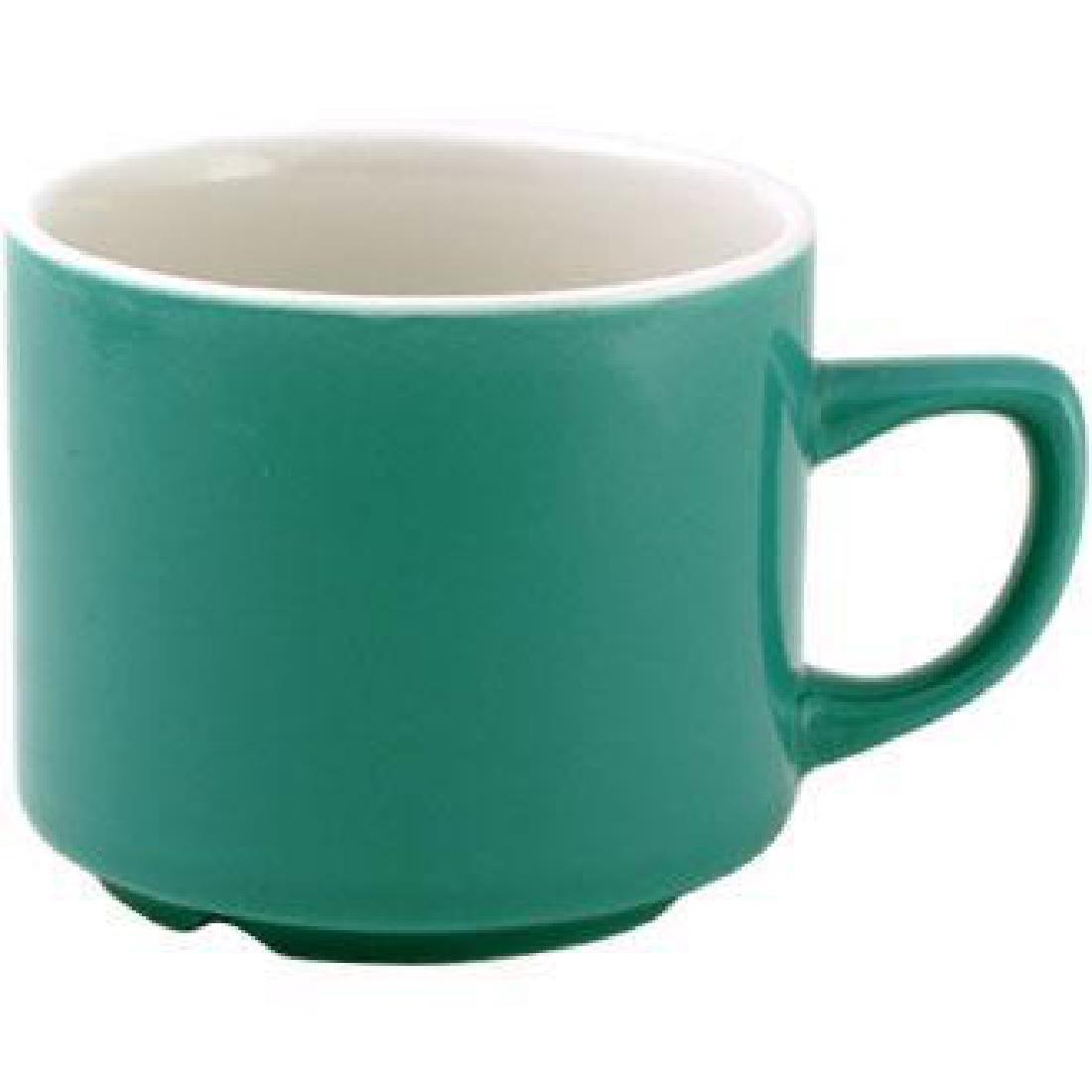 Churchill New Horizons Colour Glaze Maple Tea Cups Green 199ml (Pack of 24) (M820)